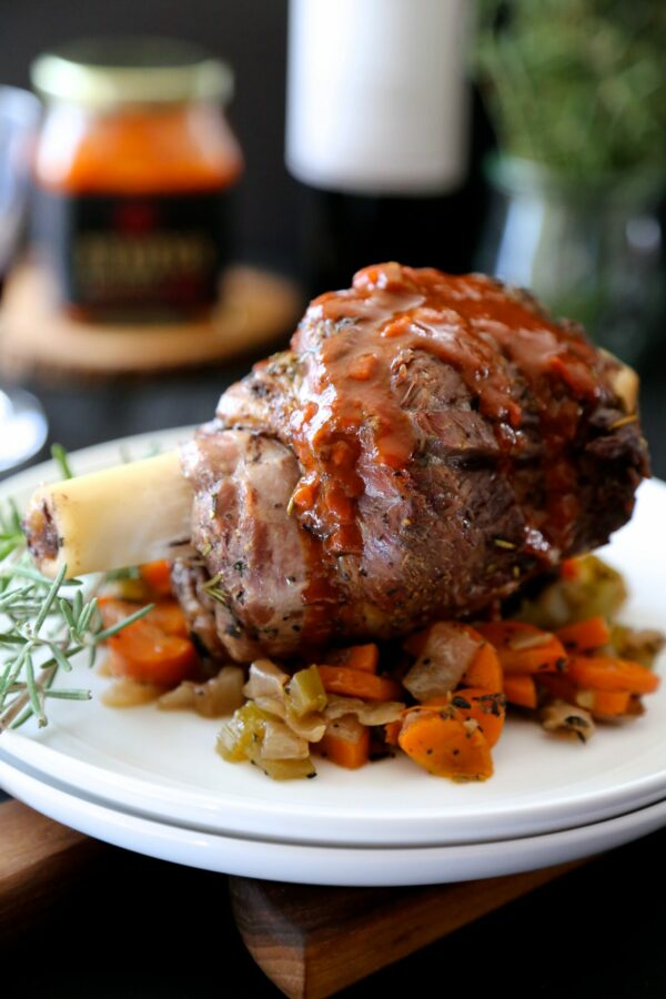 Herb Roasted Lamb shanks with Harissa Wine Sauce