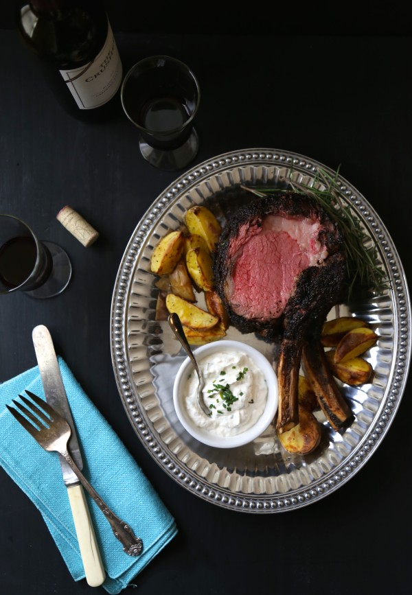 coffee-rubbed prime rib with easy horseradish sauce