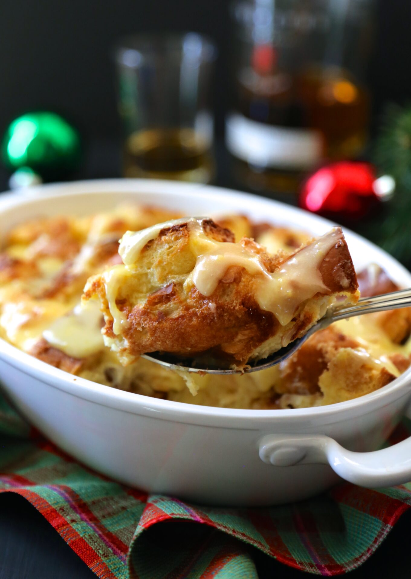 Old fashioned bread pudding with whiskey sauce
