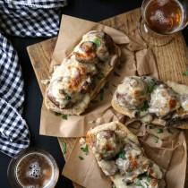 open-faced beef stroganoff meatball sandwiches