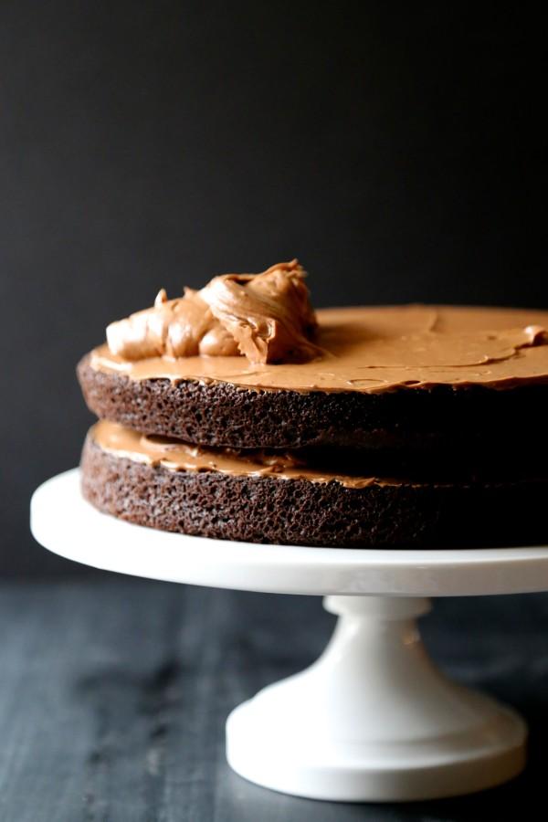 dark chocolate cake with cherry pop rocks covered truffles