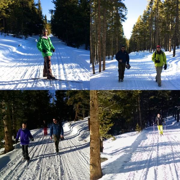 skiing to the yurt