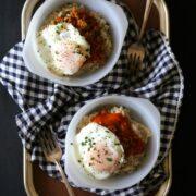 red eye gravy oatmeal with fried egg & chorizo