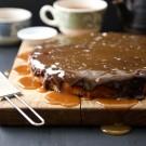 banana cake with dark chocolate frosting & salted caramel www.climbinggriermountain.com