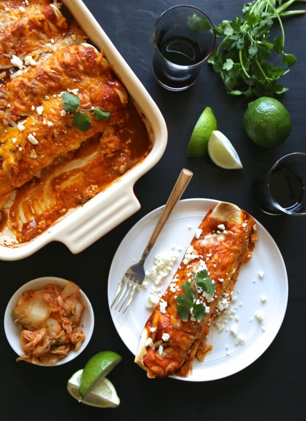 Kimchi Pork Enchiladas with Queso Fresco www.climbinggriermountain.com