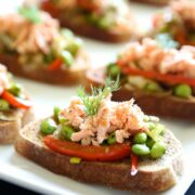 salmon crostini with fava bean ragout www.climbinggriermountain.com