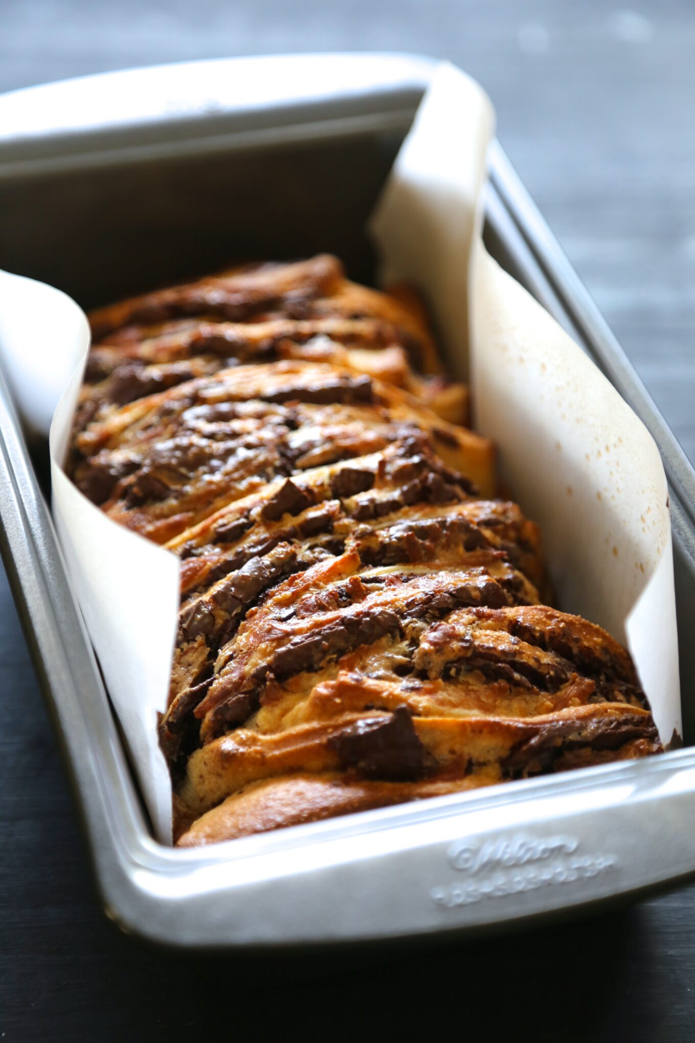 chocolate tres leches pull-apart pizza bread - Climbing Grier Mountain