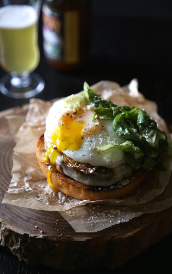 open-faced parmesan chicken burger with balsamic caesar dressing www.climbinggriermountain.com