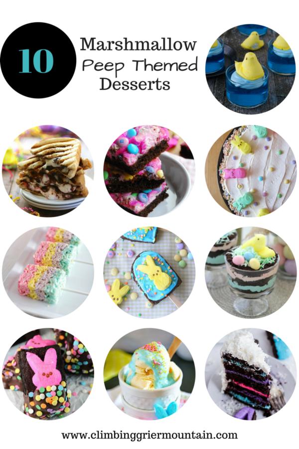 ten marshmallow peep themed desserts www.climbinggriermountain.com