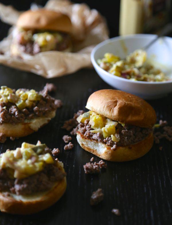 crumbly burger sliders with dijon shallot relish www.climbinggriermountain.com