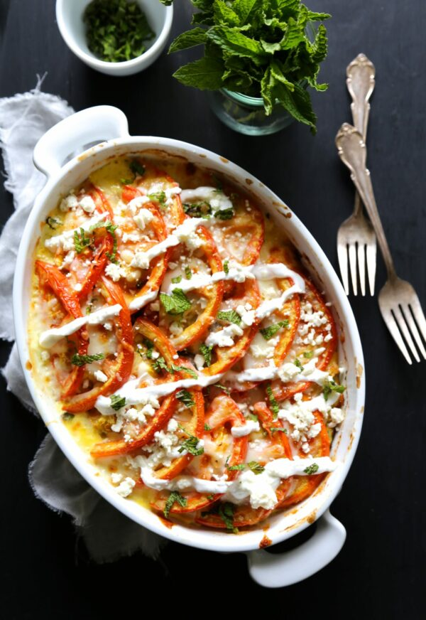 Chicken Shawarma Gratin with Jalapeno Mint Yogurt www.climbinggriermountain.com