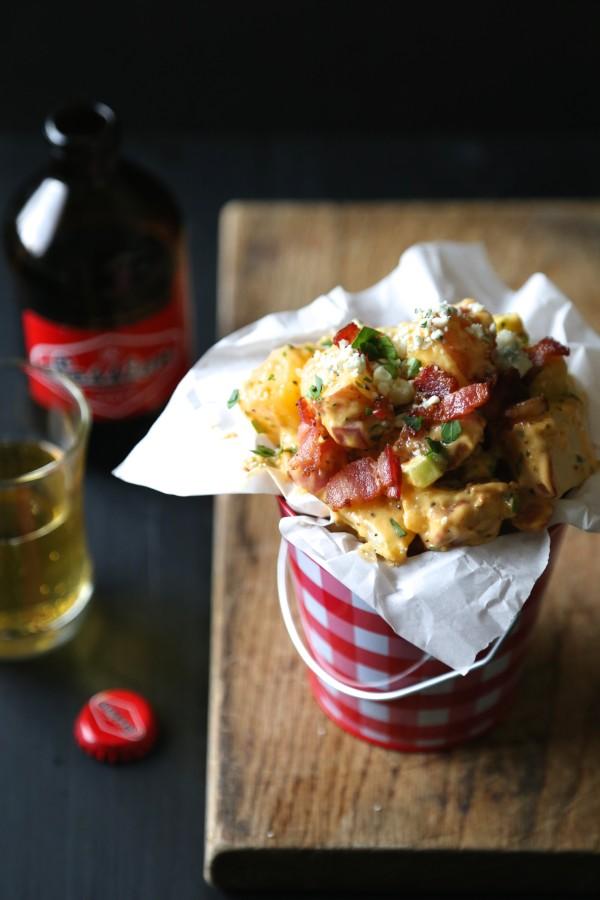 barbecue, bacon, and blue cheese potato salad www.climbinggriermountain.com