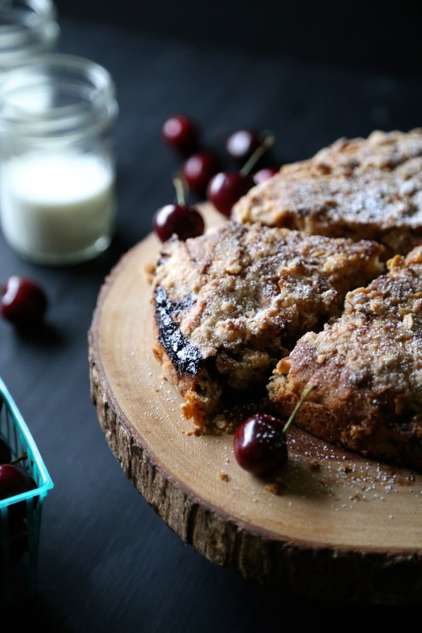 chocolate cherry cake with chocolate oat streusel