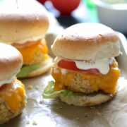 all-american quinoa cheese sliders with lemon aioli