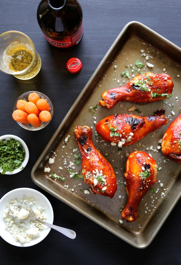baked buffalo spicy chicken drumsticks with blue cheese I