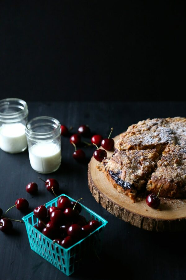 chocolate cherry cake with chocolate oat stresual www.climbinggriermountain.com
