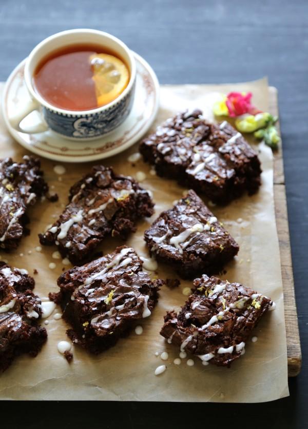 earl grey chocolate brownies with lemon sugar
