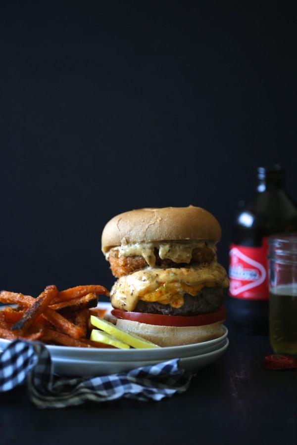 surf n' turf pimento burger with cajun remoulade
