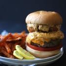 surf n' turf pimento burger with cajun remoulade