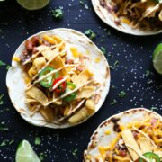 beef & chorizo chili cheese tacos with chipotle mayo