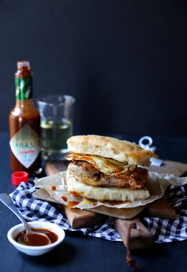 crispy chicken slider with fried egg & chipotle tabasco www.climbinggriermountain.com