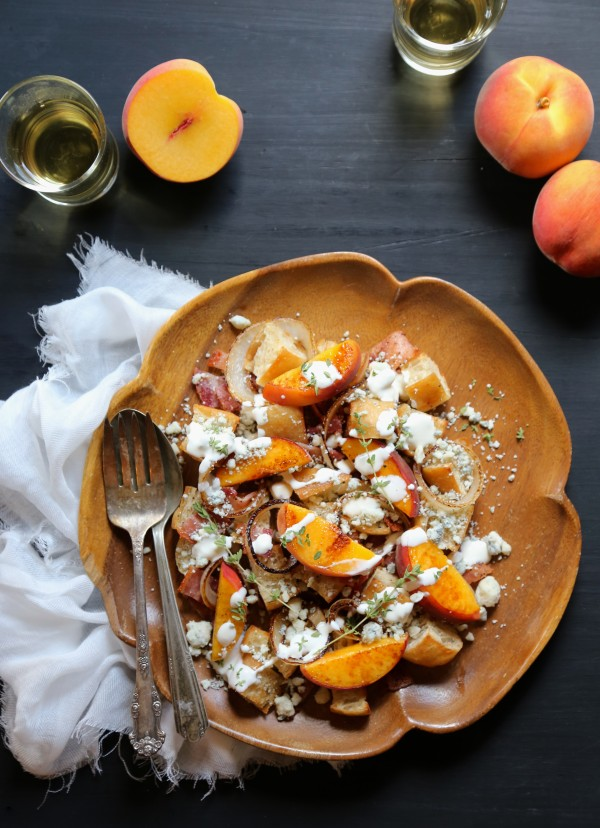 grilled peach & bacon salad with buttermilk dressing www.climbinggriermountain.com I