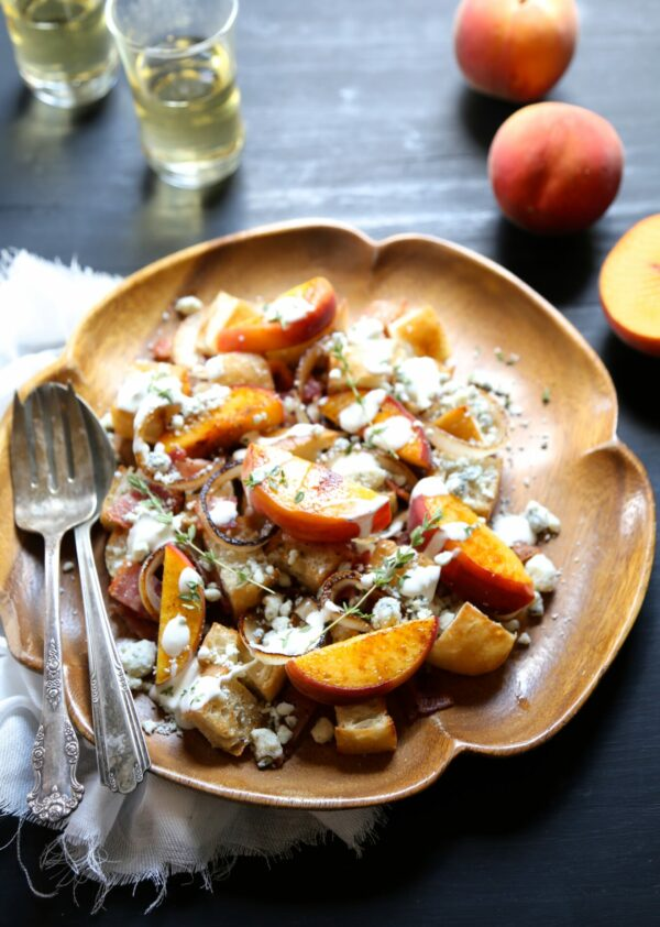grilled peach & bacon salad with buttermilk dressing www.climbinggriermountain.com