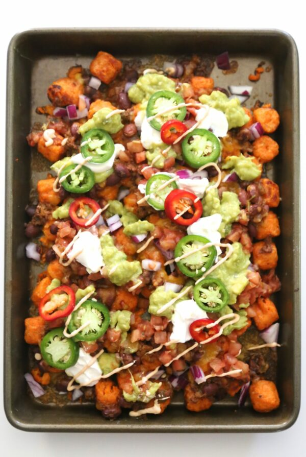 Ultimate Sweet Potato Totchos with Chipotle Aioli www.climbinggriermountain.com I