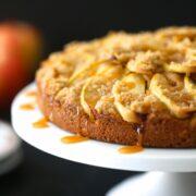 pumpkin apple cake with caramel sauce www.climbinggriermountain.com I