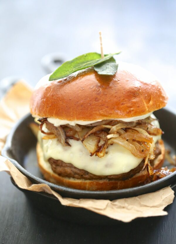 pumpkin swiss burger with fried sage www.climbinggriermountain.com I