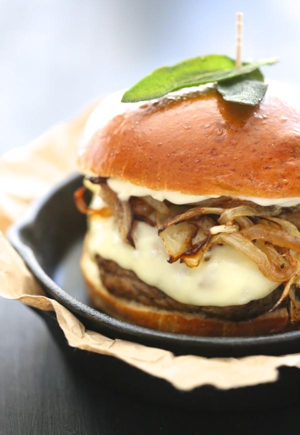 pumpkin swiss burger with fried sage www.climbinggriermountain.com II