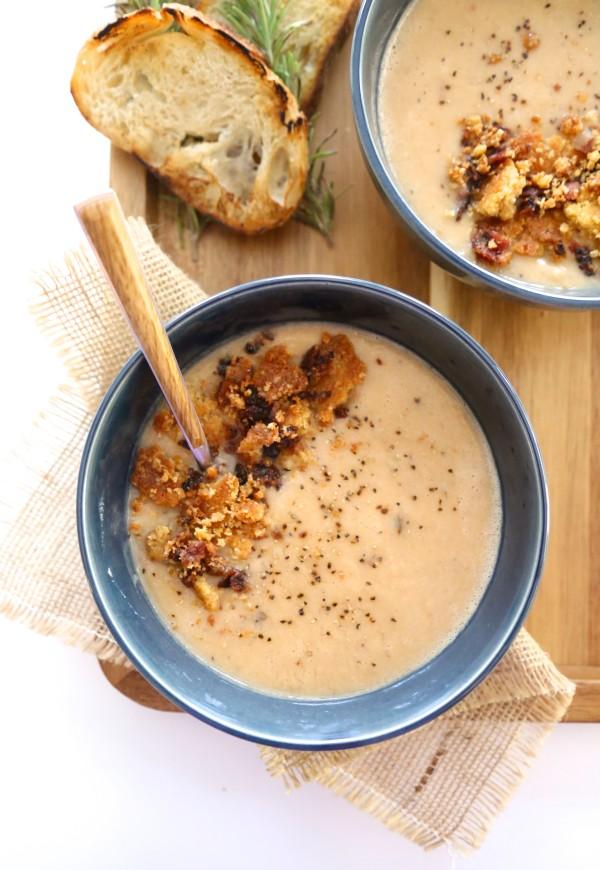 Chipotle Bacon White Bean Soup with Jalapeño Cheddar Crumble www.climbinggriermountain.com I