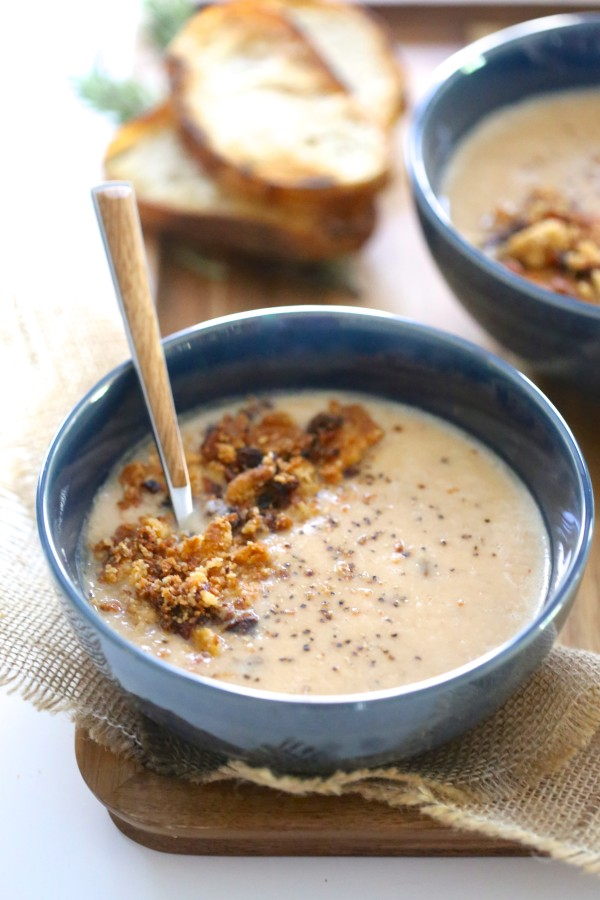 Chipotle Bacon White Bean Soup with Jalapeño Cheddar Crumble www.climbinggriermountain.com
