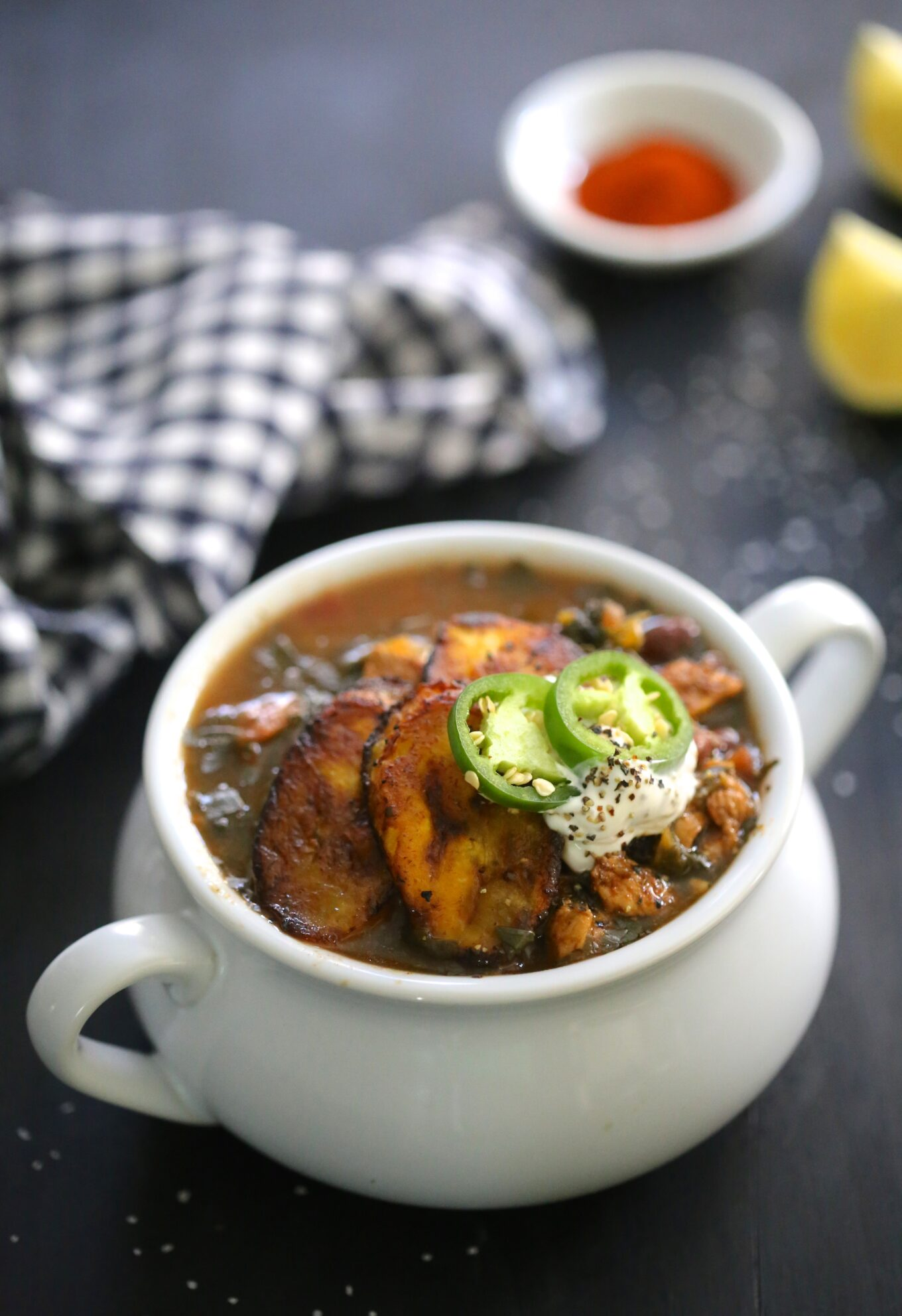 Cuban Chicken Black Bean Kale Soup With Fried Plantains Climbing