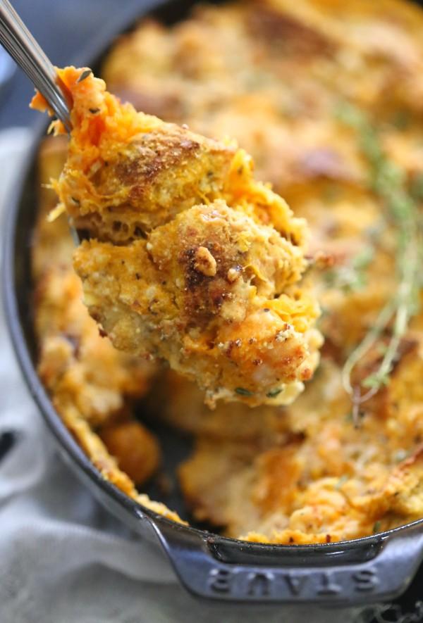 Pumpkin, Butternut Squash and Gorgonzola Bread Pudding www.climbinggriermountain.com II