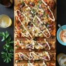 Beef & Caramelized Kimchi Pizza with Sriracha Greek Yogurt www.climbinggriermountain.com I