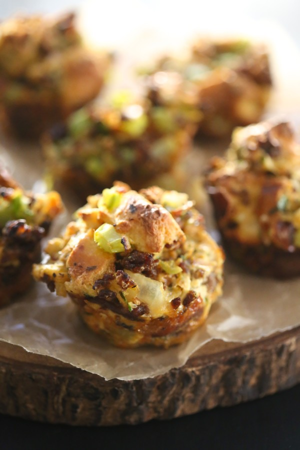 Chorizo & Brussel Sprout Stuffing Muffins www.climbinggriermountain.com I