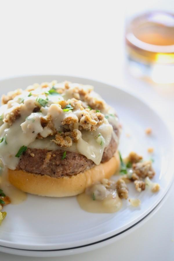 Open-Faced Turkey Burger with Apple Bourbon Gravy www.climbinggriermountain.com I
