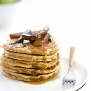 Whole Wheat Pancakes with Balsamic Caramel Apples www.climbinggriermountain.com