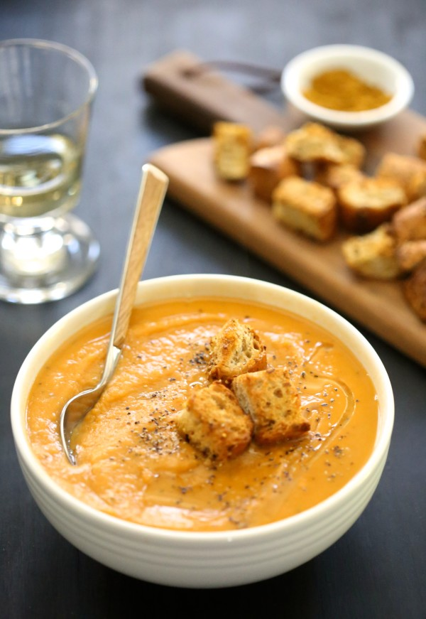ginger sweet potato soup with toasted curry croutons www.climbinggriermountain.com II