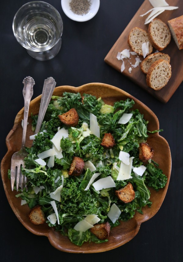 Warm Brussel Sprout and Kale Caesar Salad www.climbinggriermountain.com