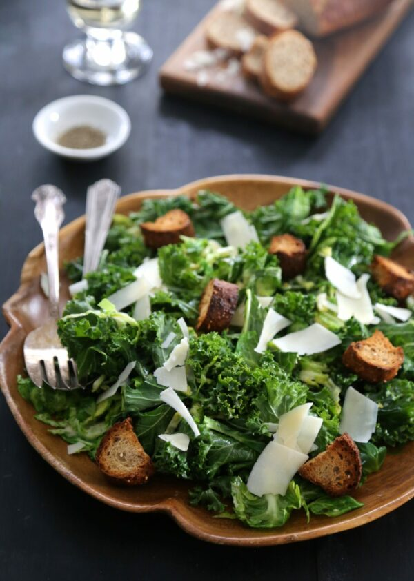 Warm Brussel Sprout and Kale Caesar Salad www.climbinggriermountian.com I