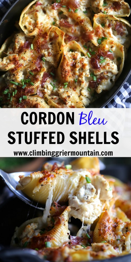 Cordon Bleu Stuffed Shells www.climbinggriermountain.com