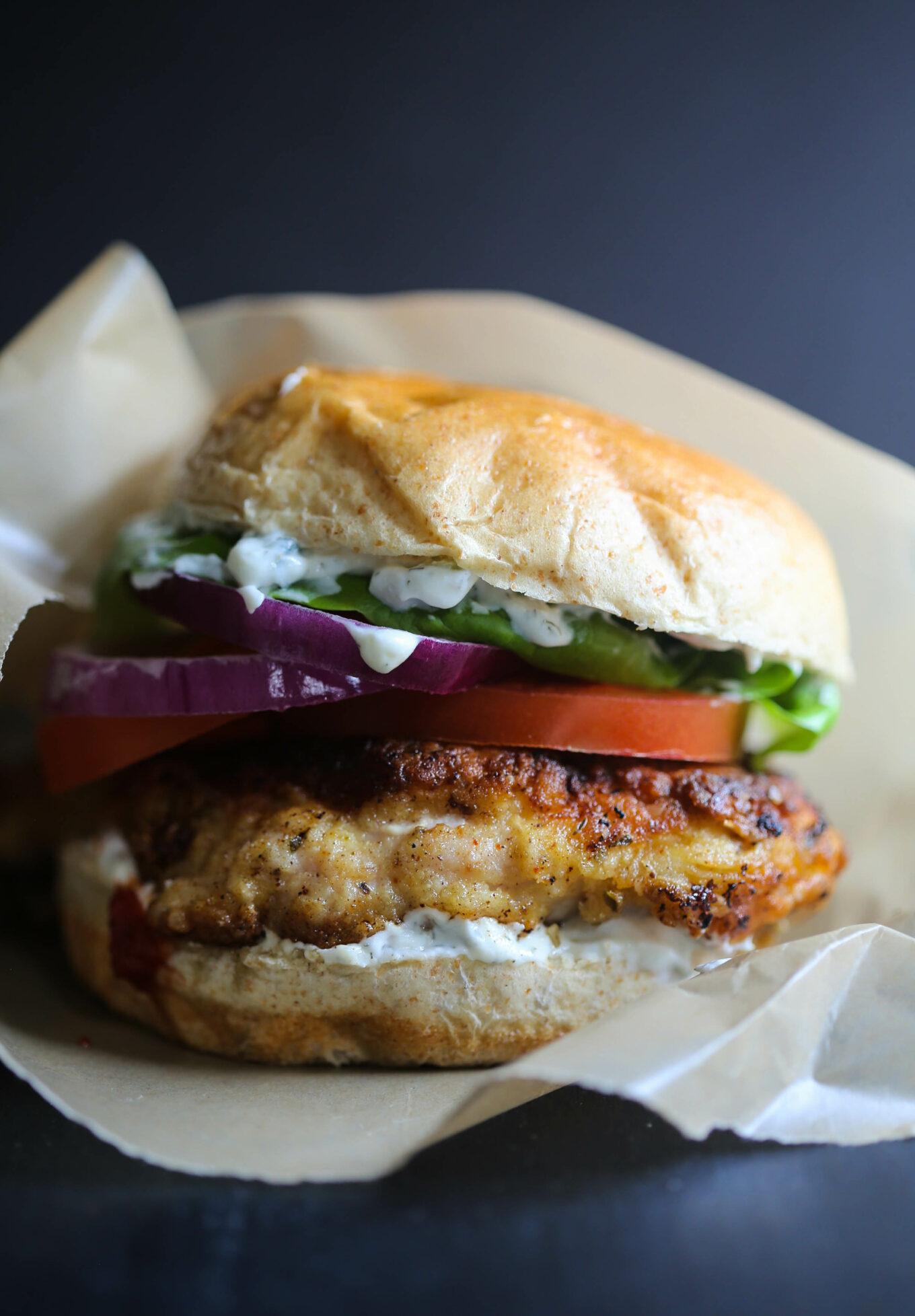 fried chicken shawarma sandwich
