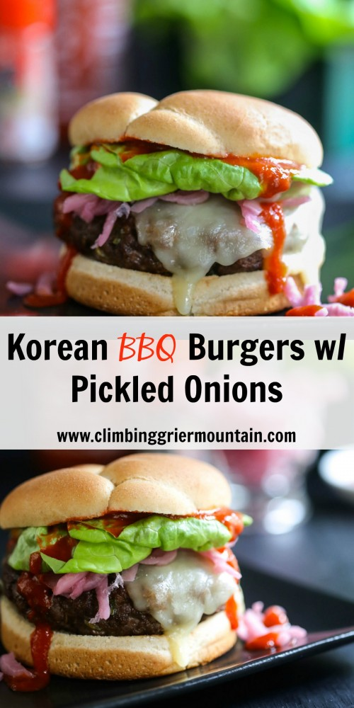 korean barbecue burger with pickled onions - Climbing ...