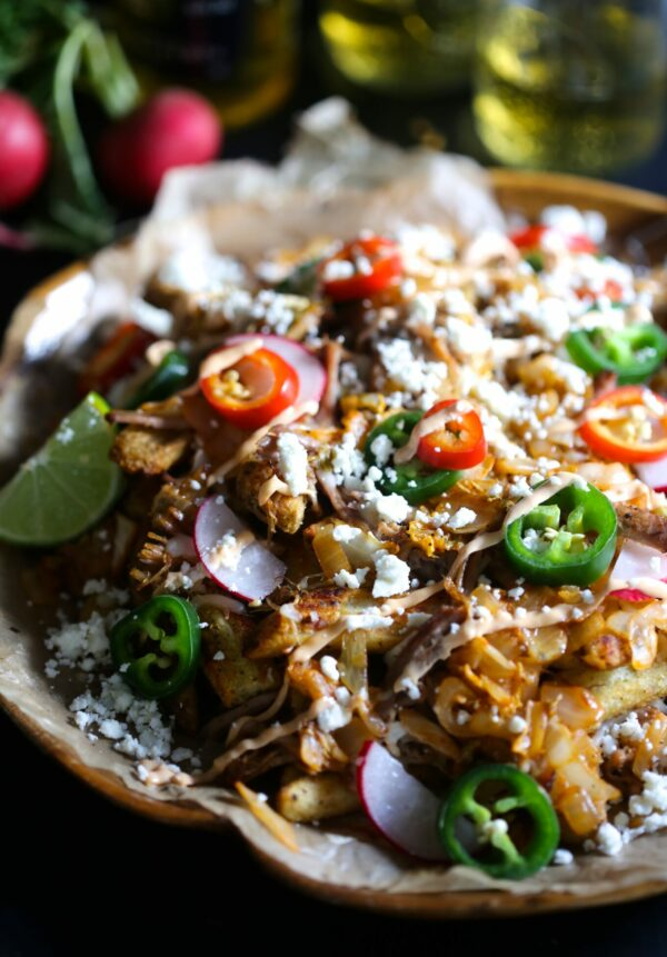 Slow Cooker Carnitas Kimchi Fries www.climbinggriermountain.com