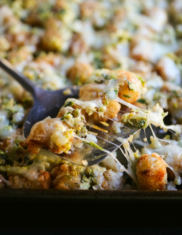 creamed brussel sprout tater tot casserole www.climbinggriermountain.com I