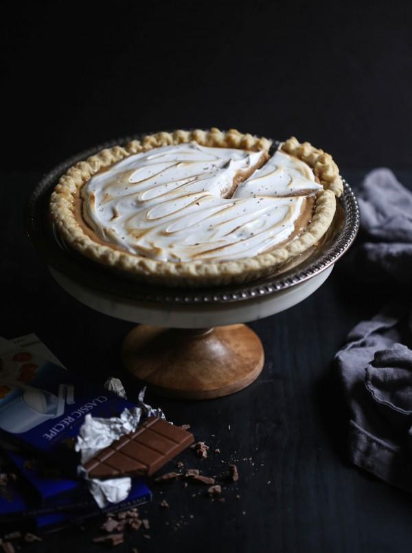 Caramel & Sea Salt Whiskey Silk Pie with Toasted Marshmallow www.climbinggriermountain.com