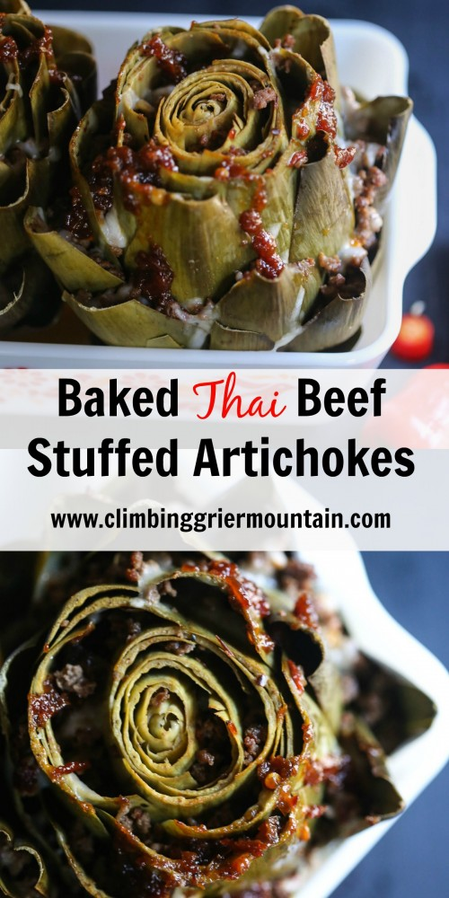 baked thai beef stuffed artichokes collage www.climbinggriermountain.com