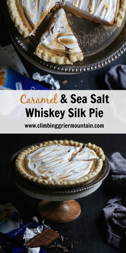 caramel & sea salt whiskey silk pie www.climbinggriermountain.com